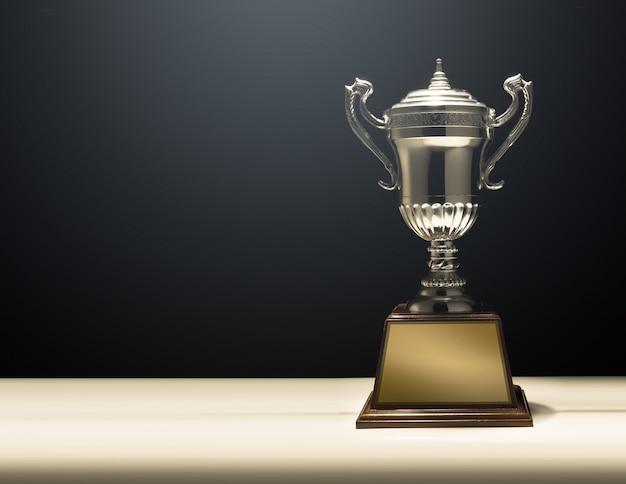 Modern trophy with black bacground Premium Photo