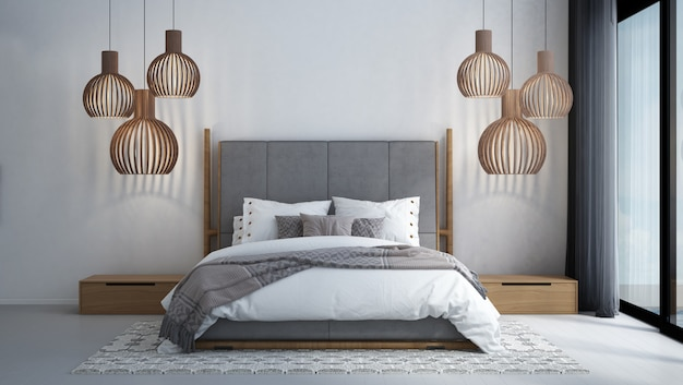 Premium Photo Modern Tropical Bedroom Interior Design And White Texture Wall Background