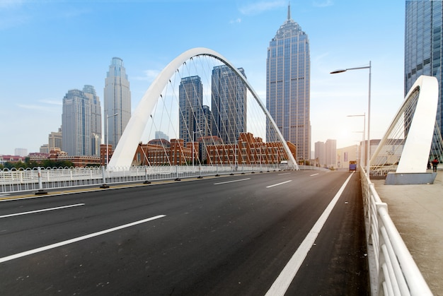 Modern urban architecture, bridges and expressways in tianjin, china Premium Photo