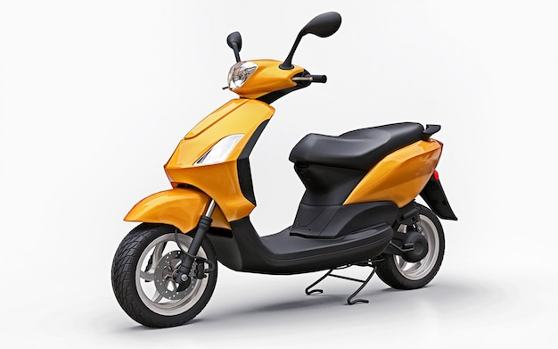 Modern urban orange moped Premium Photo