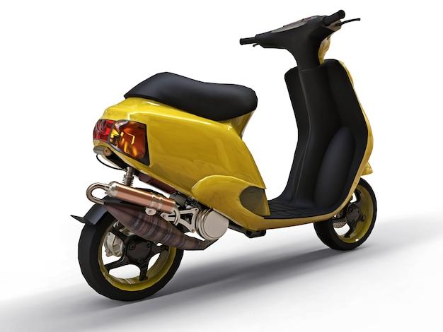 Modern urban yellow moped on a white background Premium Photo