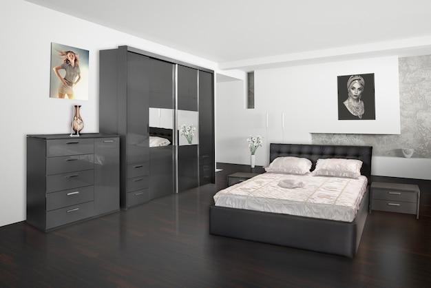 モダンな活気のあるベッドルームのインテリアデザイン。 Premium写真