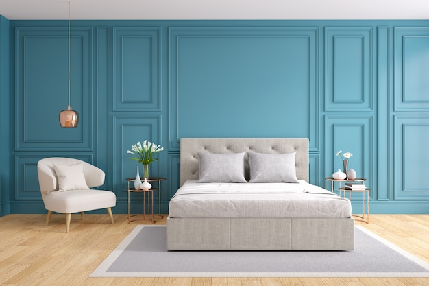 Modern and vintage bedroom , cozy gray room concept , blue wall and wood floor Premium Photo