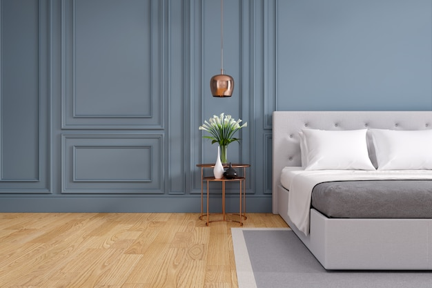 Modern and vintage bedroom , cozy gray room concept Premium Photo
