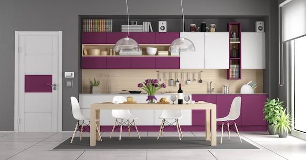 Современная бело-фиолетовая кухня Premium Фотографии