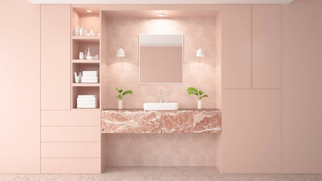 Modern White Bathroom 3d Rendering Image There Are Pink Tile Wall