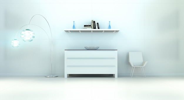 Modern white blue interior with chest of drawers and shelve 3d rendering Premium Photo