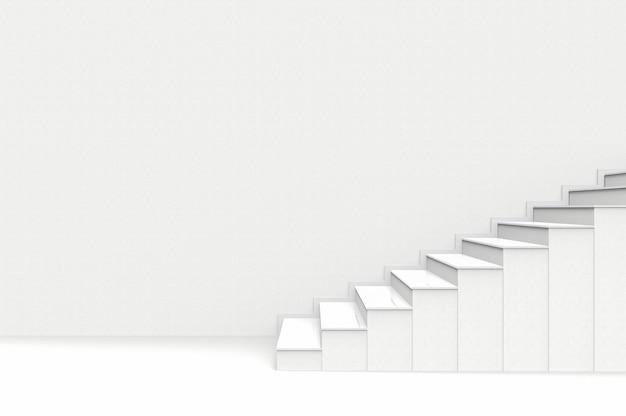 Modern white cement staircase wall background. Premium Photo