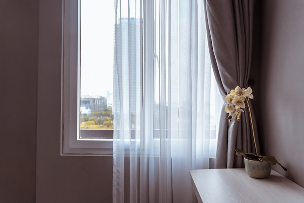 Modern window decorative blind curtains for bedroom, interior concept. Premium Photo