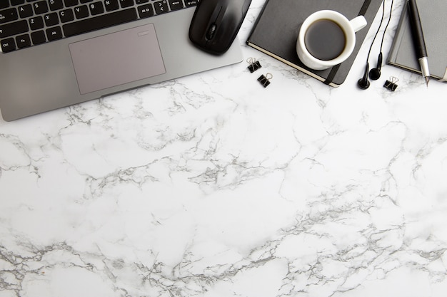 Modern workplace arrangement on marble background Free Photo