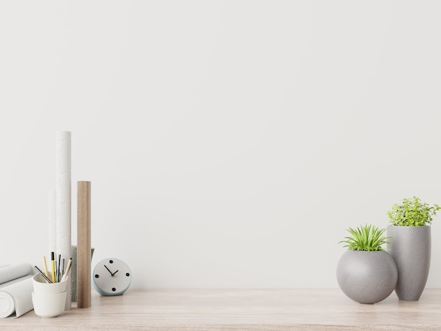 Premium Photo Modern Workplace With Creative Desk With Plants Have White Wall