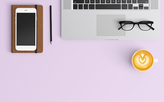 modern workspace. top view. flat lay style. Premium Photo