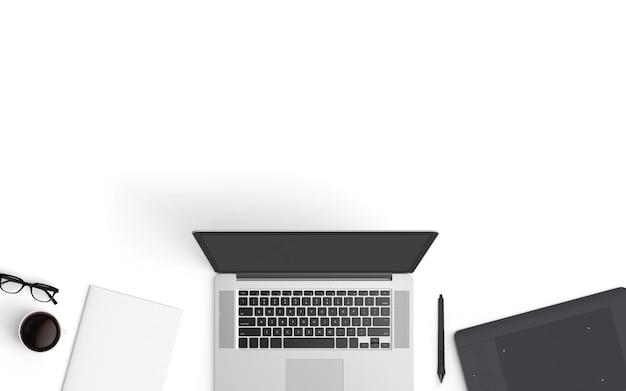 modern workspace. top view. flat lay style. Premium Photo
