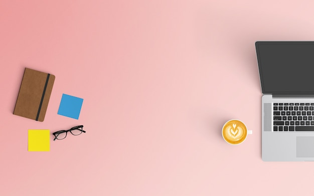 Modern workspace with coffee cup, notebook, smartphone and laptop on pink color Premium Photo
