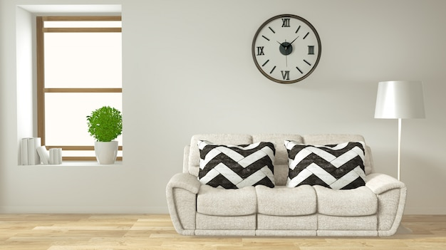 Modern zen living room interior with sofa and green plants japanese style Premium Photo