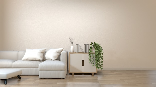 Modern zen living room with sofa and furniture japanese style. Premium Photo