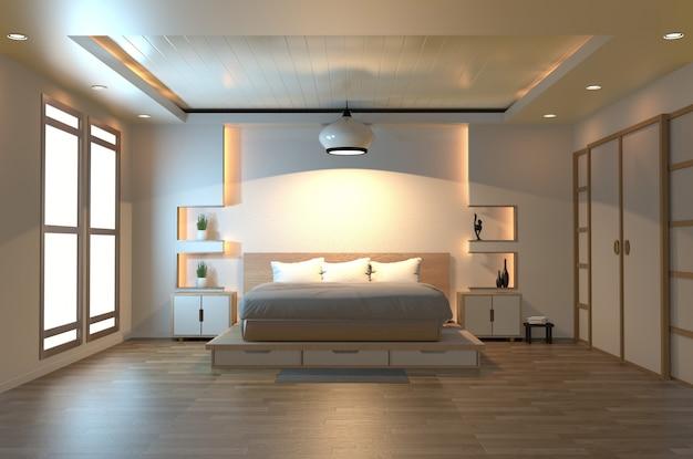Modern zen peaceful bedroom Premium Photo