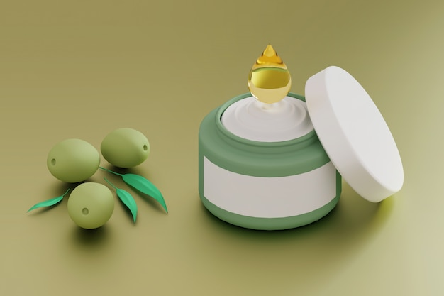 Moisturizing cream with olive oil drop and green olives Premium Photo