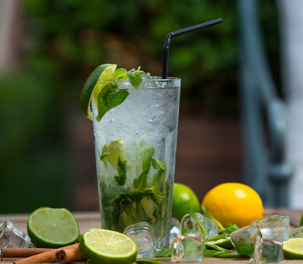 Mojito cocktail glass with ice pieces, fresh mint leaves and lime slices with tube Free Photo