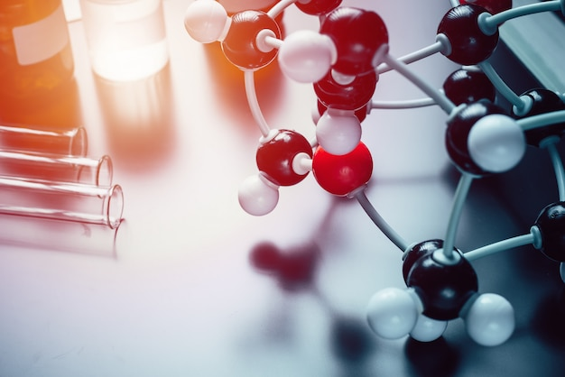 Molecular formula and laboratory equipment Premium Photo