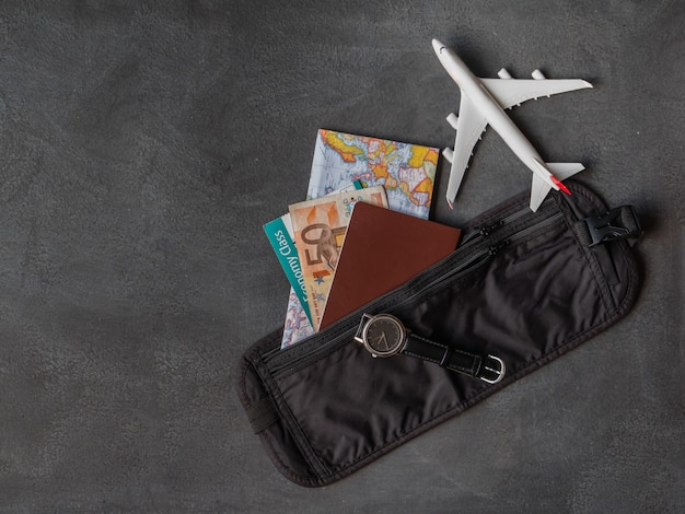 Money belt with passport Premium Photo