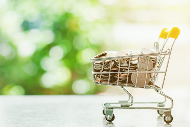 Money coin in mini shopping cart or trolley against blurred natural green background Premium Photo