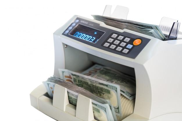 Money counter isolated on white Premium Photo