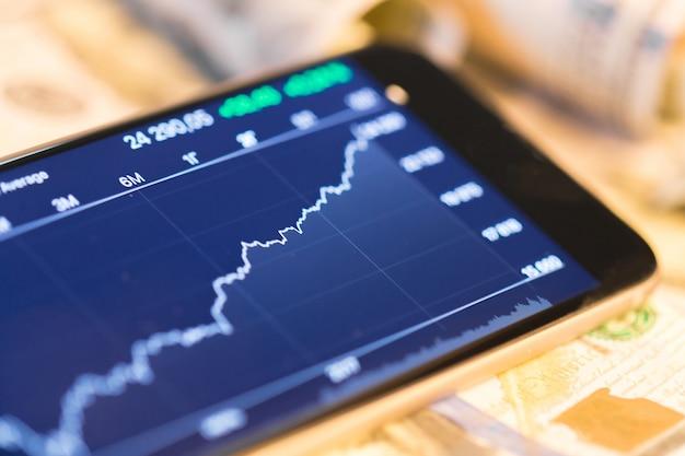Money and graph Premium Photo