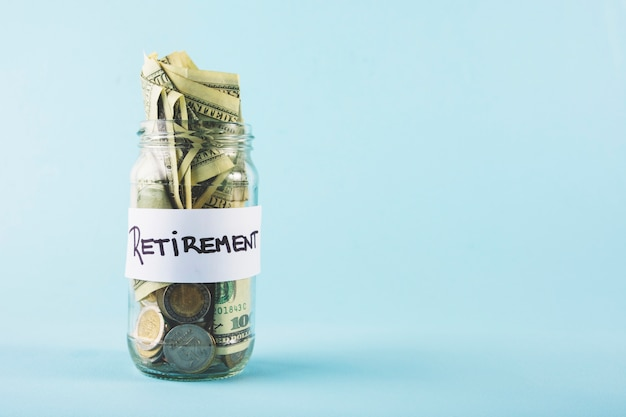 Money in jar for retirement Free Photo