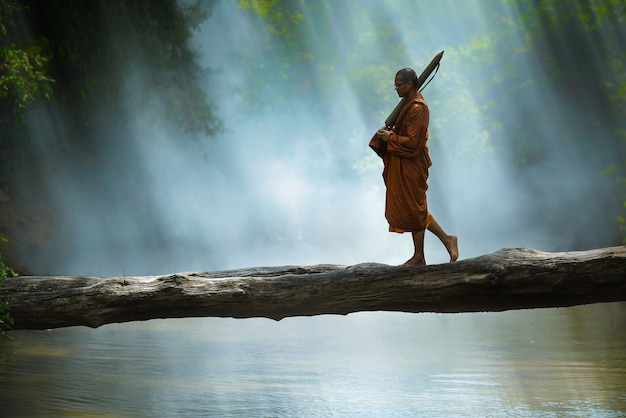 Monk hiking cross the river in forest,thailand, | Premium Photo