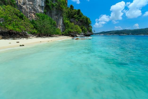 Monkey beach, phi phi islands, thailand Premium Photo