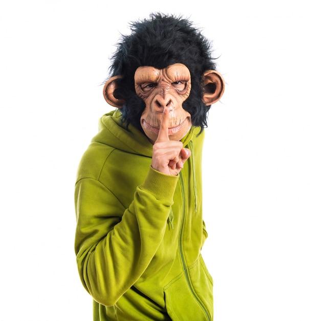 Monkey man making silence gesture Free Photo