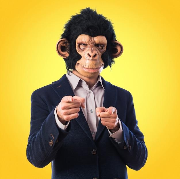 Человек-обезьяна, указывая на фронт на цветном фоне Premium Фотографии