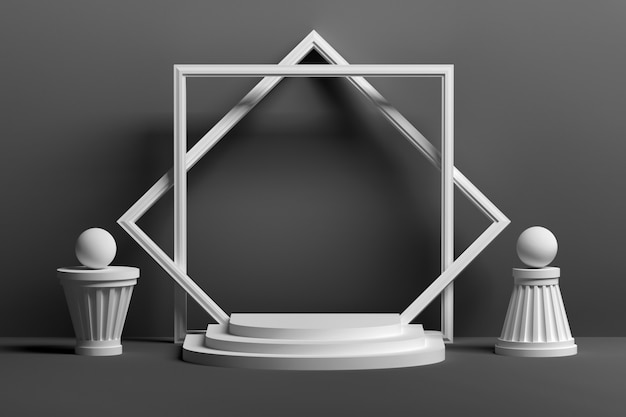 Monochrome black podium white presentation  with empty blank frame and abstract shapes Premium Photo