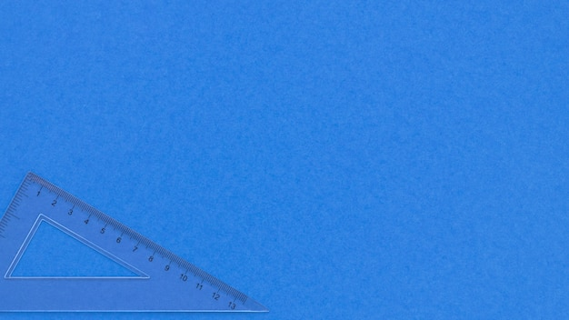Monochrome blue copy space background and transparent ruler Premium Photo