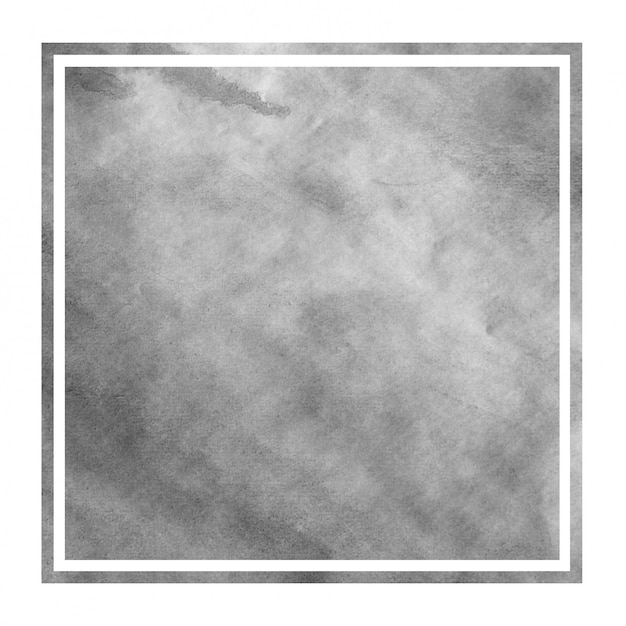 Monochrome hand drawn watercolor rectangular frame background texture with stains Premium Photo