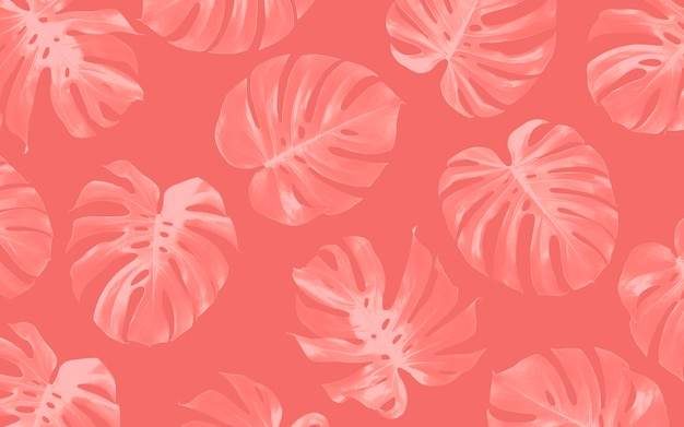 Monstera leaves seamless pattern background design tropical summer Premium Photo