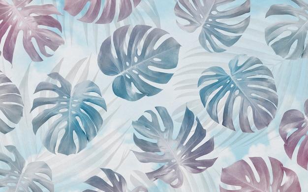 Monstera leaves seamless pattern background design tropical summer Premium Photo