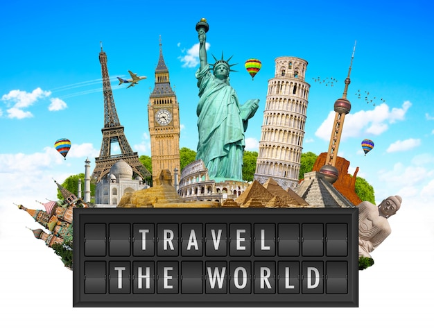 Monuments of the world on a airport billboard panel Premium Photo