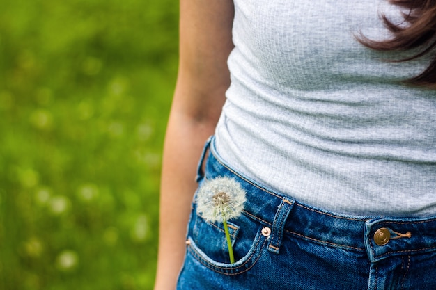 Moody summer picture of a dandelion flower in a jeans pocket on green space. Premium Photo