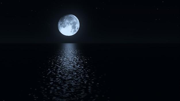 Лунная дорожка с низким дурак луна над морем реалистичные 3d иллюстрации Premium Фотографии