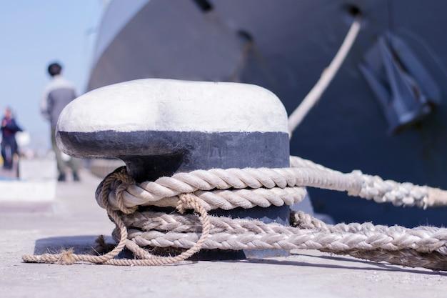 A moored ship at the marina. Premium Photo