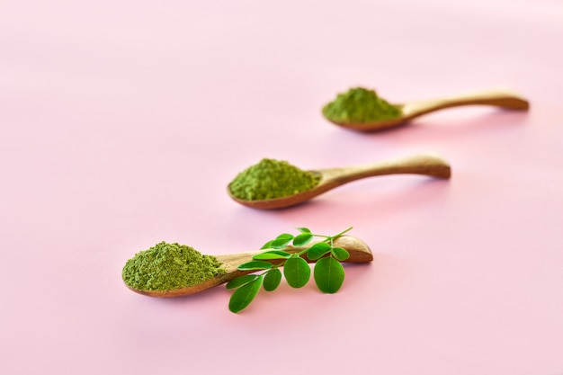 Moringa powder (moringa oleifera) in wooden spoons on pink background. Premium Photo
