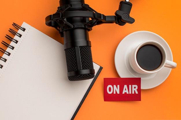 Morning on air radio stream and coffee Premium Photo