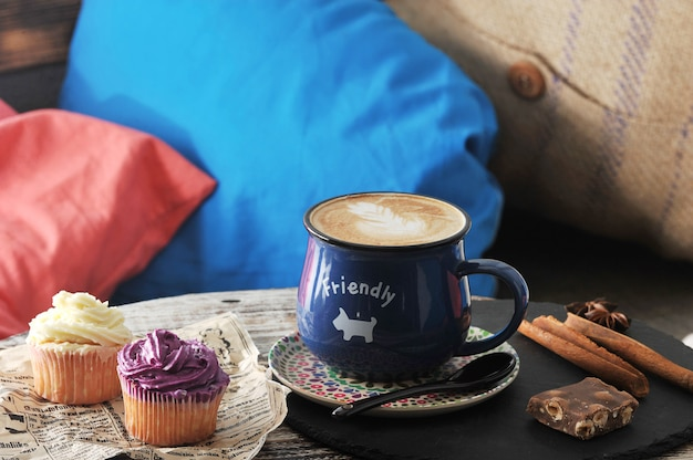 The morning breakfast in the cafãƒâ© cappuccino Premium Photo