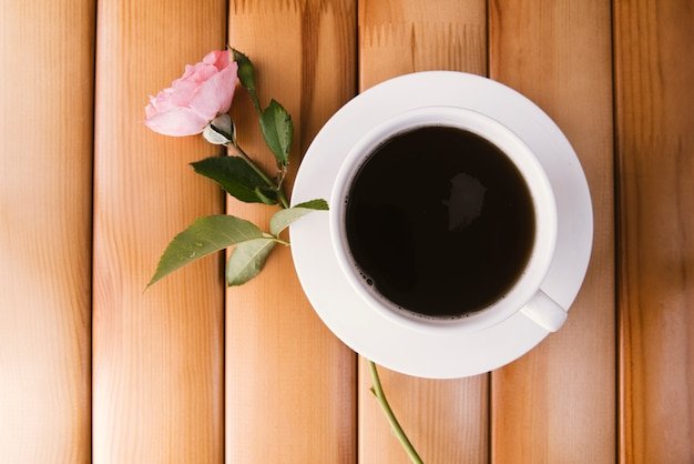 Morning coffee on wooden background Free Photo