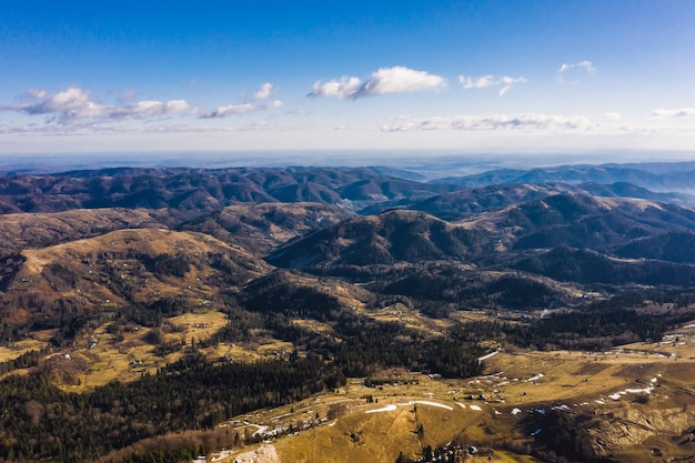 Morning in the mountains. carpathian ukraine, aerial view. Free Photo