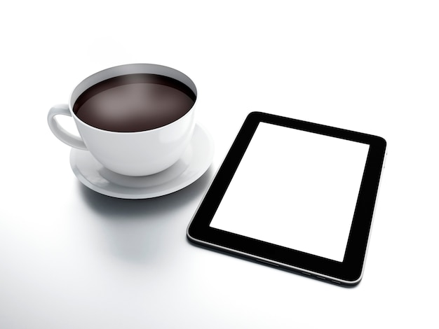 Morning news. coffee cup with tablet pc on white isolated background Premium Photo