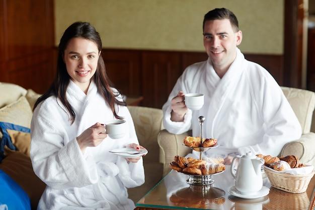 Morning tea in hotel Free Photo