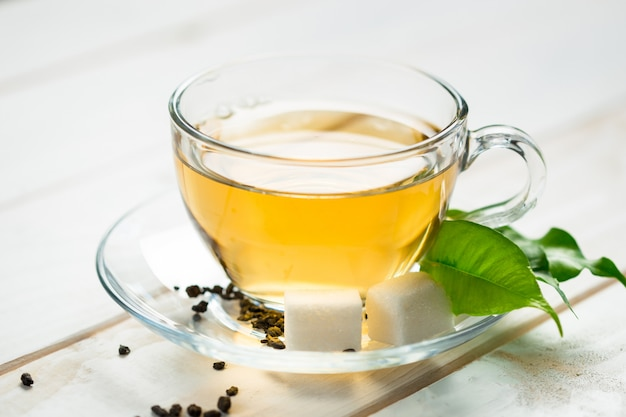 Morning tea on the table Premium Photo